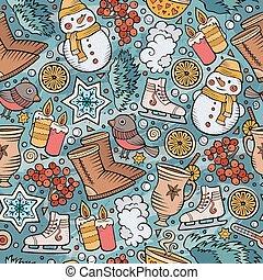 Cartoon cute hand drawn Winter season seamless pattern. ...