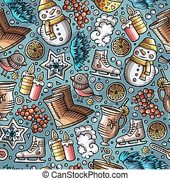 Cartoon cute hand drawn Winter season seamless pattern....