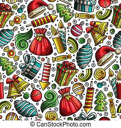 Cartoon cute hand drawn Xmass seamless pattern. Colorful ...