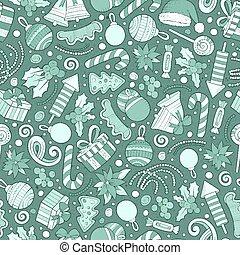 Cartoon cute hand drawn Xmass seamless pattern. Line art ...
