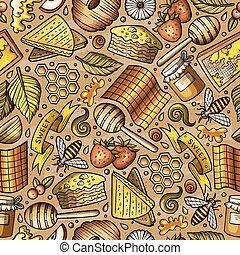 Cartoon cute Honey seamless pattern