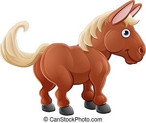 Cartoon Cute Horse Farm Animal