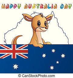 Cartoon cute kangaroo behind a flag on map background