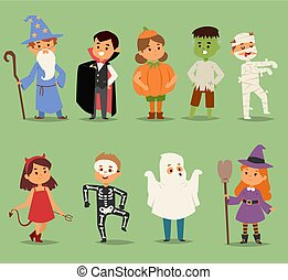 Cartoon cute kids wearing Halloween costumes vector ...