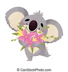 Cartoon cute koala with a bouquet. Vector illustration on white background.