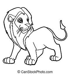 cartoon cute lion coloring page vector illustration