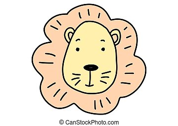 Cartoon cute lion. Doodle animal. Hand-drawn vector illustration isolated on a white background.