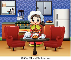 Cartoon cute little girl in chef's hat holding a food