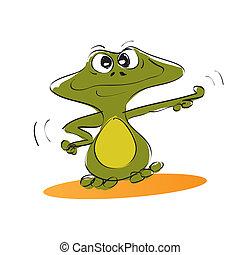Cartoon cute little green frog - illustration