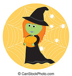 Cartoon cute little witch with pumpkin. Vector illustration