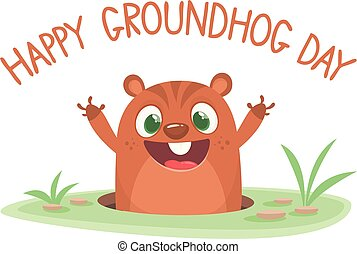 Cartoon cute marmot groundhog looking out of a hole.