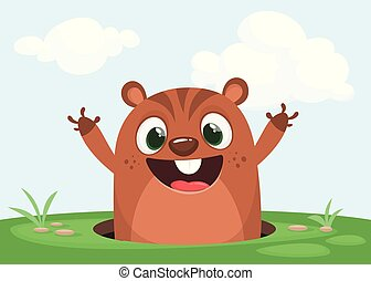 Cartoon cute marmot looking out of a hole. Happy groundhog day.