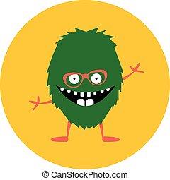 Cartoon cute monster alien. Vector illustration