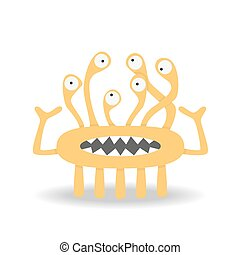 Cartoon cute monster on white background.