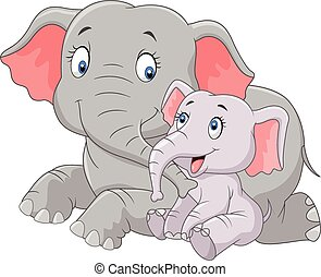 Cartoon cute Mother & baby elephant