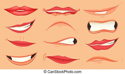 Cartoon cute mouth expressions facial gestures set with pouting lips smiling sticking out tongue isolated vector illustration.