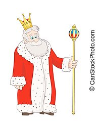 cartoon cute old king in red mantle