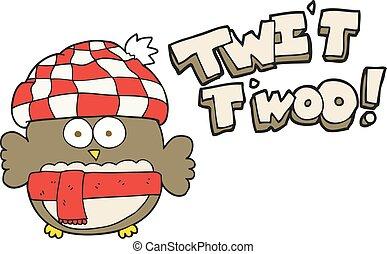 cartoon cute owl singing twit twoo