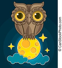 cartoon cute owl sitting on a moon