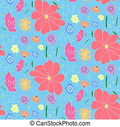 Cartoon cute pattern with colorful doodle flowers