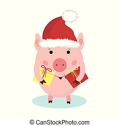 cartoon cute piggy with the gift, illustration isolated on white background.
