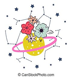 Cartoon cute planet with flower and stars decor clipart vector.