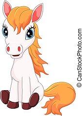 Cartoon cute pony horse sitting