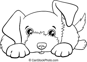 cartoon cute puppy comic animal character coloring book page