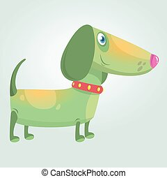Cartoon Cute Purebred Dachshund Dog mascot. Vector Illustration isolated on white background