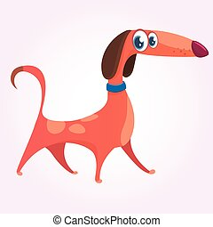Cartoon Cute Purebred Dachshund icon. Vector Illustration isolated on white background