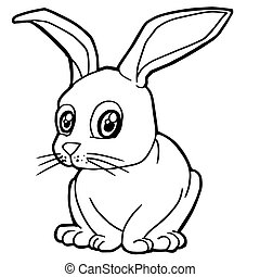 cartoon cute rabbit coloring page vector illustration