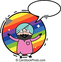 Cartoon Cute Sardar with rainbow background