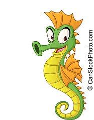 Cartoon cute seahorse. Vector illustration of funny happy animal.
