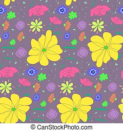Cartoon cute sketch pattern with colorful flowers
