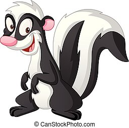 Cartoon cute skunk. Vector illustration of funny happy animal.