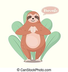 Cartoon cute sloth in greeting pose namaste. Vector...