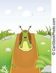 cartoon cute snail on dirt road - cartoon sute snail walking...