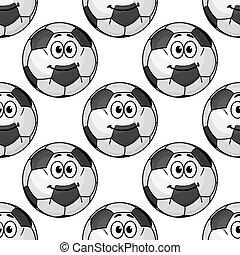 Cartoon cute soccer ball characters seamless pattern