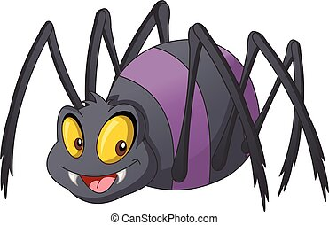Cartoon cute spider. Vector illustration of funny happy animal.
