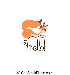 Cartoon cute squirrel greeting. Little funny hello. Vector...