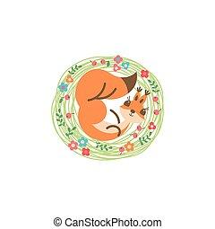Cartoon cute squirrel. Little funny print. Vector...