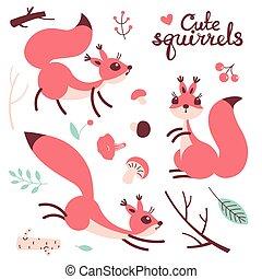 Cartoon cute squirrel. Little funny squirrels. Vector...