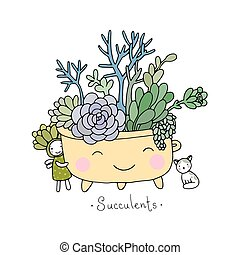 Cartoon cute succulents in pot. Hand drawing isolated...