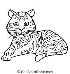 cartoon cute tiger coloring page vector illustration