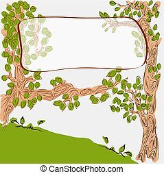 Cartoon cute trees with banner on branch