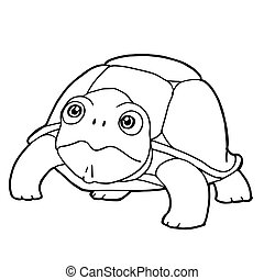 cartoon cute turtle coloring page vector illustration