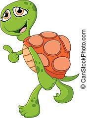 Cartoon cute turtle giving thumb up