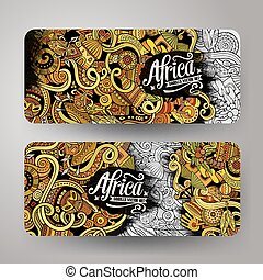 Cartoon cute vector doodles Africa banners