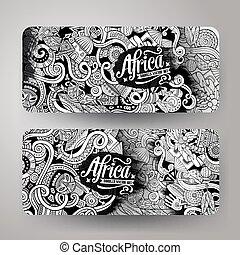 Cartoon cute vector doodles Africa banners