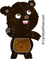 cartoon cute waving black bear teddy